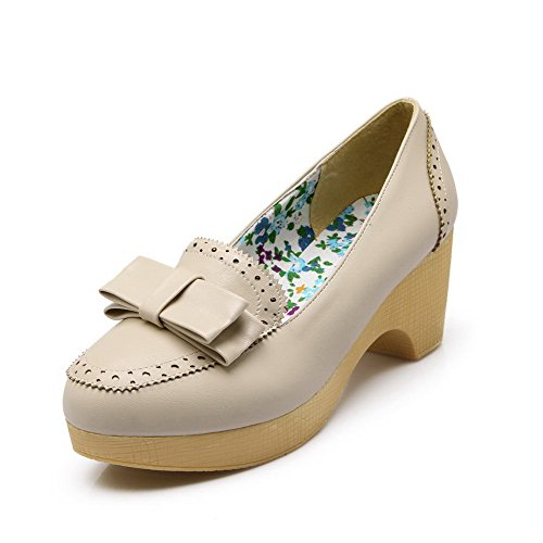 VogueZone009 Women's Pull-on Kitten-Heels PU Solid Round Closed Toe Pumps-Shoes Beige dgywYXf