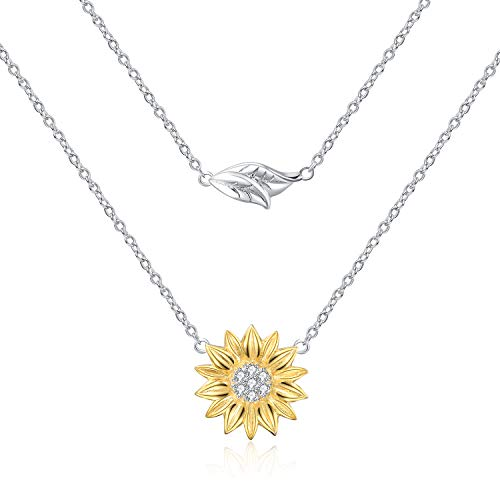 POPLYKE Sunflower Necklace Sterling Silver Sunflower Layered Pendant Necklace for Women