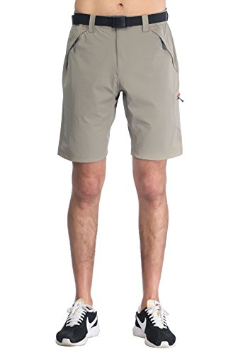 - MIER Men's Quick Dry Nylon Cargo Shorts Lightweight Hiking Shorts with Zipper Pockets, Partial Elastic Waist, Water Resistant, Rock Grey, XL