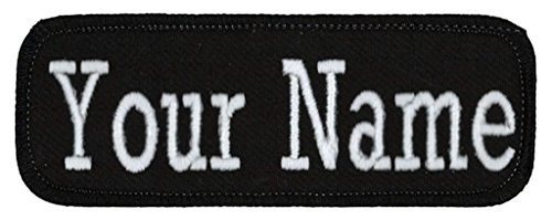 Name Tag Personalized and Embroidered 4 Wide x 1.5 Tall in Multiple Colors and Styles, Black/Black, Iron On