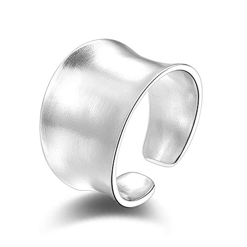 SILBERTALE 15mm Wide Sterling Silver Frosted Concave Open Adjustable Band Finger Ring for Women Girls Size 5.5-7