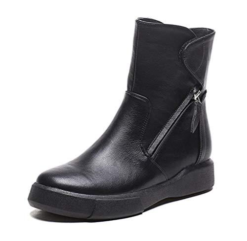 Boots Head Black Bottom Wild New Thick Women's Shiney Plus Round Autumn Short Style Vintage Martin Velvet British Winter PztURwTq