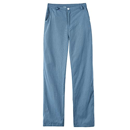 (TIFENNY Sweatpants for Men Summer Simple and Fashionable Pure Cotton and Linen Trousers Loose Pnats Sky Blue)