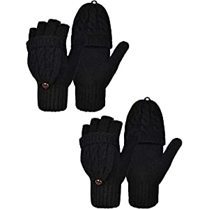 2 Pairs Women's Winter Fingerless Gloves Winter Knitted Mittens Convertible Gloves with Buttoned Thumb Cover