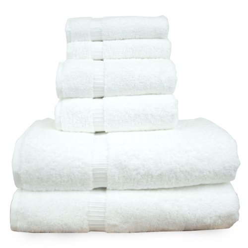 Luxury Hotel & Spa Towel Turkish Cotton Bath Towel Bundle (White, 6-Piece Towel (Hotel Set)