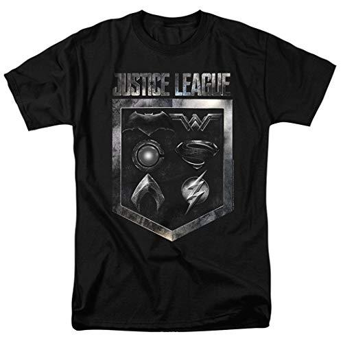 Justice League Movie Emblems DC Comics T Shirt & Exclusive Stickers (X-Large)
