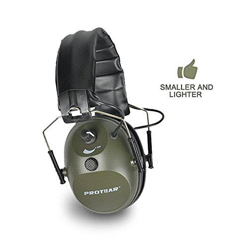 PROTEAR Electronic Single Microphone Shooting Range Gear Hunting Earmuff Sound Enhancement Hearing Protector-NRR 24dB Army Green by PROTEAR