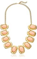 Kenneth Jay Lane Gold with Angelskin Cabochon Oval Necklace, 24""