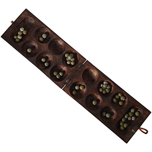 African Oware (mancala) Seed Board Game - Folding Square shape - Hancarved, solid wood with seeds - Free instructions - from Africa Heartwood ()