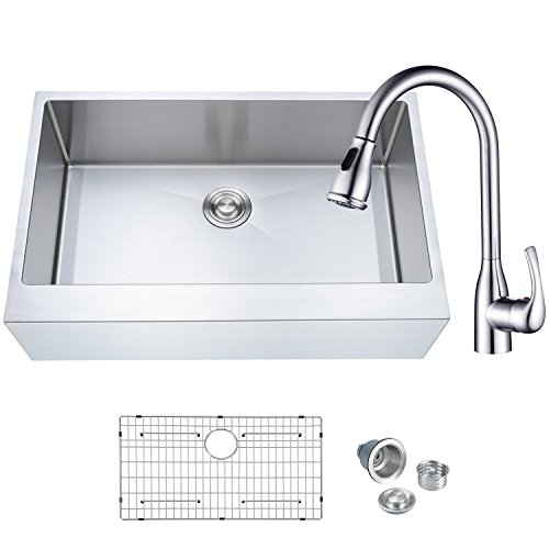 (BILLION BFC-A3321 Kitchen Combo With Handcrafted Stainless Steel 33 Inch Single Bowl 16 Gauge Farmhouse Apron Sink and One-Handle High Arc Pulldown Kitchen Faucet)