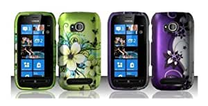 Bloutina Nokia Lumia 710 (T-Mobile) Premium Combo 2 Pack - (Green Hibiscus and Black Butterfly, Purple Flower Vines on...