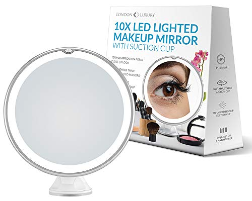 London Luxury 10X Magnifying Makeup Mirror | Lighted Makeup Mirror With 20 LEDs | 8 Wide | Travel Vanity Mirror Is Compact | Suction Cup With 360 Rotation | Battery Operated Make Up Mirror With Light