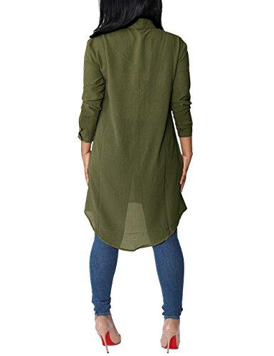 Abricot Femme Arm Arm Vert Col XL Classique Gris ISASSY Chemisier Tunique Chemise M Vert Manches Longues q7nFwTZ5O