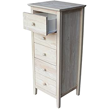 International Concepts Lingerie Chest With 5 Drawers, Unfinished