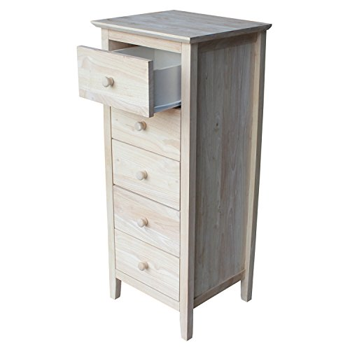 International Concepts Lingerie Chest with 5 Drawers, Unfinished -