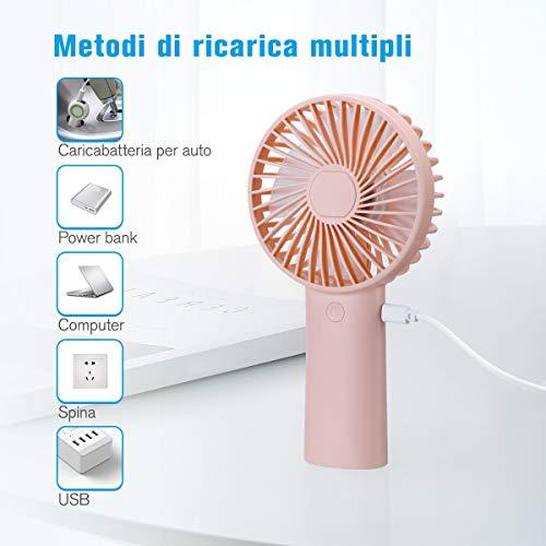 isYoung Mini Ventilatore Portatile-Ventilatore Portatile USB con Ventole Ricaricabili da 4000 mAh con 3 velocità di 8-18 Ore di Lavoro per i Viaggi in Ufficio a Casa All\'aperto-Rosa