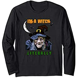Funny Halloween Long Sleeve Shirt With Scary Witch Moon Bats