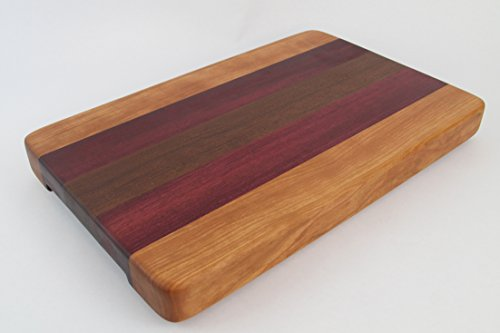 Handcrafted Wood Cutting Board - Edge Grain - Walnut, Cherry and Purpleheart wood. No slip bottom & easy grips. Chefs/cooks will love this!!