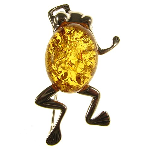Designer Amber Jewelry - BALTIC AMBER AND STERLING SILVER 925 DESIGNER COGNAC FROG BROOCH PIN JEWELLERY JEWELRY