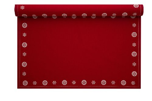 MYdrap Holiday Printed Cotton Placemat 18.9 Length x 12.6 Width Red Snowflake (10 Rolls of 12) [並行輸入品]   B07N865H7K