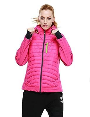 PHIBEE Women's Windproof Outdoor Full-Zip Polyester Warm Softshell Hooded Jacket