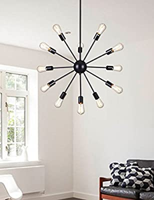 Deking 12 Lights Pendant Light Black Modern Satellite Style Chandelier Painted Black Industrial Light Fixture for Residential Use Without Bulbs