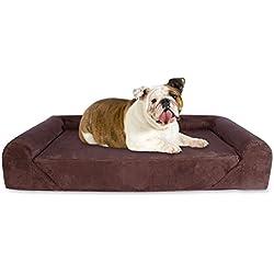 KOPEKS Deluxe Orthopedic Memory Foam Sofa Lounge Dog Bed - Large - Brown