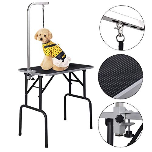 Ribbed Posts (Giantex 32'' Foldable Dog Pet Cat Grooming Table with Arm & Noose, Durable Heavy Duty Steel Frame with Ribbed Rubber Surfaced for Small Dogs, Pet Grooming)