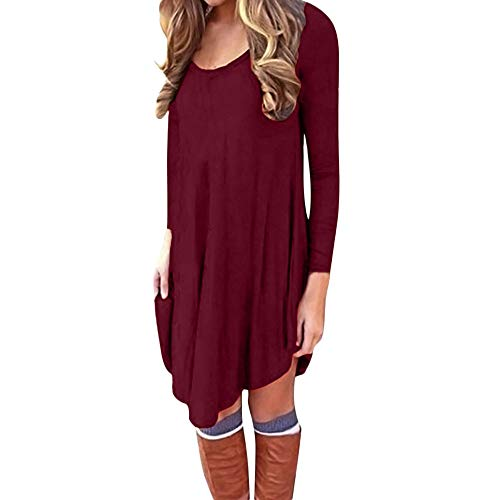 Lowprofile Rags Couture Women Long Sleeve Solid Casual Loose Mini Dress Evening Party