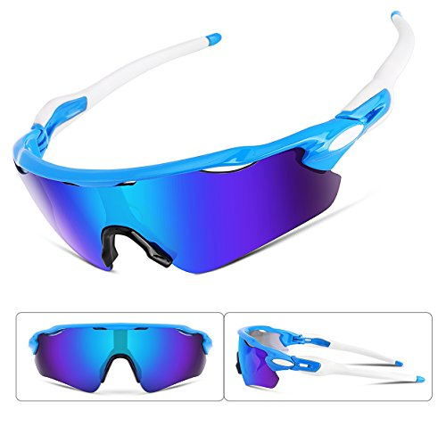 FEISEDY Polarized Sports Sunglasses Changeable Lenses TR90 Frame Cycling B2280 (2, 52) by FEISEDY