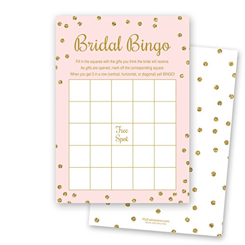 24 Cnt Bridal Shower Bingo Cards (Faux Gold Glitter on Pink)