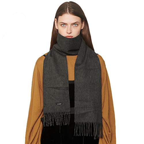 Women's & Men's Classic Wool Blend Solid Scarves Cashmere Feel Scarf with Fringe(Dark gray)