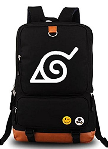 Gumstyle Anime Naruto Luminous Large Capacity School Bag Cosplay Backpack Black and (Large Luminous)