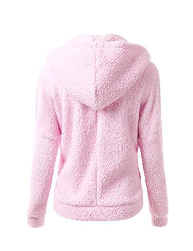 Cremallera sólida moda-sudaderas de la mujer Pink XXL