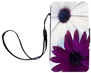 Nice Sharp Color Purple and White Daisies Design Galaxy S4 PU Leather Wallet Type Flip Case with Magnetic Flap and Wristlet for Samsung Galaxy S4 i9500 by ruishername