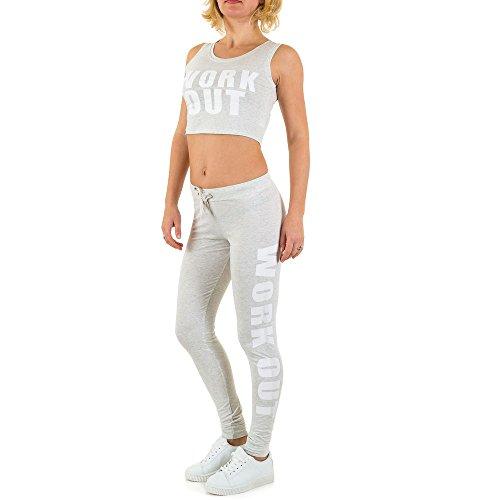 Freizeit Yoga Zweiteiler Overall Für Damen , Grau In Gr. S bei Ital-Design