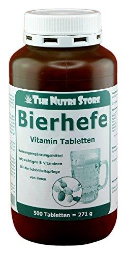 Bierhefe 500 mg Vitamin Tabletten 500 Stk. - mit wichtigen B-Vitaminen für die Schönheitspflege von innen