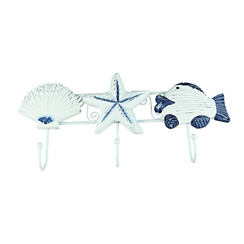 Nautical 3 Wall Hook - Starfish, Sand Dollar and Fish Vintage Style, Blue and White - Unusual Coat Hooks