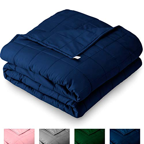 """Bare Home Weighted Blanket for Adults 25lb (80"""" x 87"""") - All-Natural 100% Cotton - Premium Heavy Blanket Nontoxic Glass Beads (Dark Blue, 80""""x87"""")"""