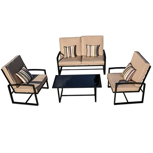 4 Garden Seater (HP95 Balcony Patio Garden Furniture Set 4,Furniture Armchair 4 Seater with Cushions and Coffee Table,US Warehouse (Style B))