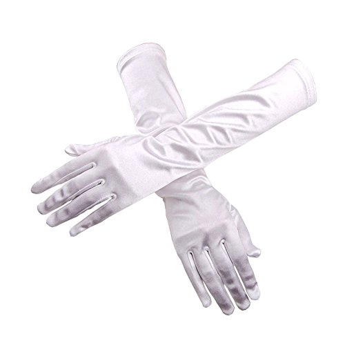 TBNA Bridal Long Satin White Gloves Elbow Length Gloves for Women