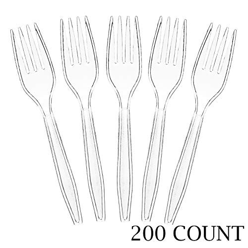 Plasticpro Clear Plastic Forks Disposable Cutlery Utensils 200 Count