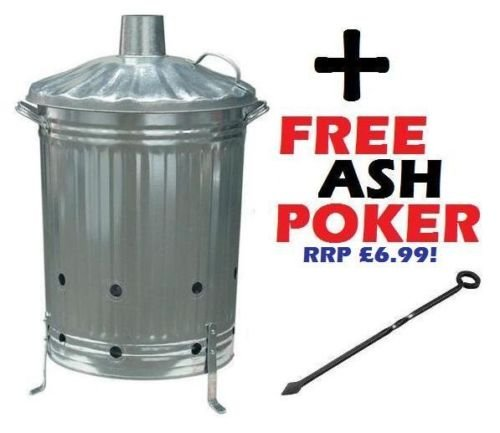 Large 90 Litre Incinerator Burning Fire Bin Rubbish Paper Leaves Burner with Poker S&MC Gardenware