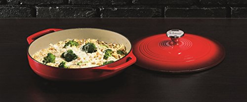 Lodge 3.6 Quart Cast Iron Casserole Pan. Red Enamel Cast Iron Casserole Dish with Dual Handles and Lid (Island Spice Red) by Lodge (Image #2)