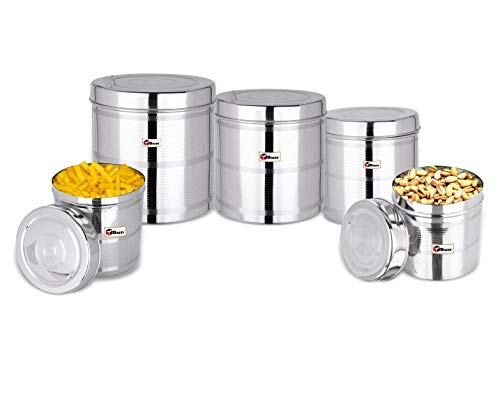 EBun-Stainless-Steel-Set-of-5-Canisters-Containers-Ubha-Dabba-with-lid-for-Kitchen-Storage-8501200140019502500-GMS-Stripes-Design