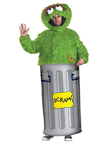 Disguise Unisex Adult Oscar the Grouch, Multi, X-Large (42-46) Costume]()