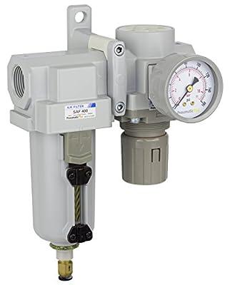 "PneumaticPlus SAU420-N06DG-MEP Compressed Air Filter Regulator Combo 3/4"" NPT - Metal Bowl, Auto Drain, Bracket, Gauge"