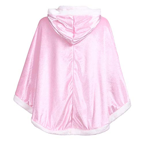Fine Women Winter Warm Button Down Plush Hooded Throw Wrap Wearable Blanket Cover Coat (Pink) ()