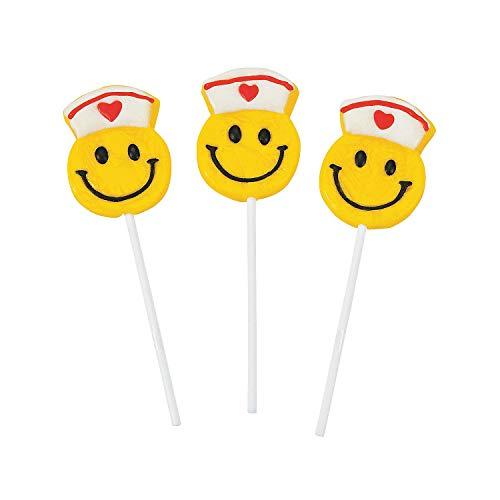 Fun Express - Smile Face Nurse Suckers - Edibles - Sucker & Pop - Character Suckers - 12 Pieces