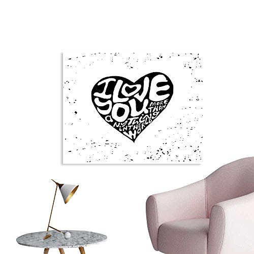 J Chief Sky I Love You More Wall Decoration Artistic Calligraphy in a Valentines Heart Shape with Grunge Messy Look Wallpaper Mural W32 xL24